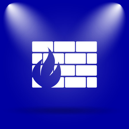 firewall icon: Firewall icon. Flat icon on blue background.