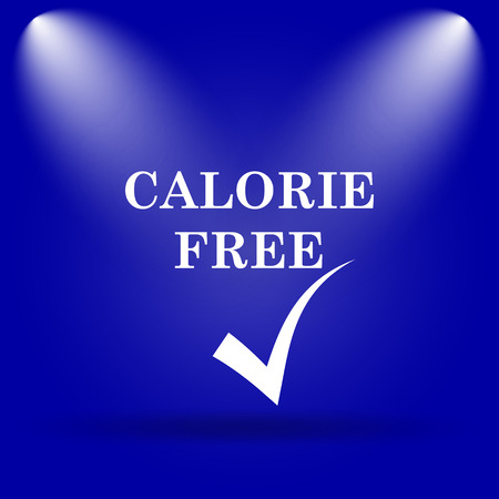 calorie: Calorie free icon. Flat icon on blue background.