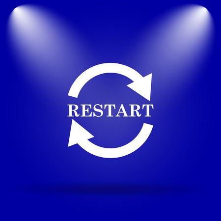 restart: Restart icon. Flat icon on blue background. Stock Photo