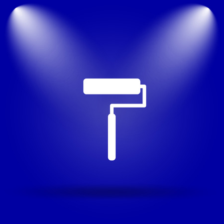Roller icon. Flat icon on blue background.