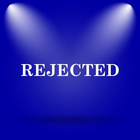 rejected: Rejected icon. Flat icon on blue background. Stock Photo