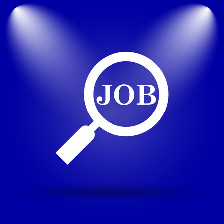 Search for job icon. Flat icon on blue background. photo
