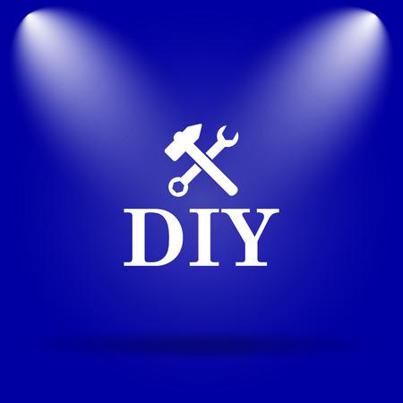 diy: DIY icon. Flat icon on blue background. Stock Photo
