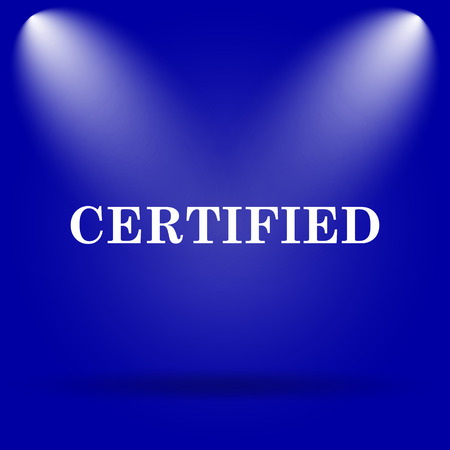 accredit: Certified icon. Flat icon on blue background.