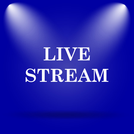 livestream: Live stream icon. Flat icon on blue background. Stock Photo