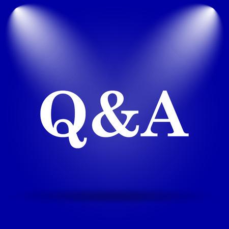 qa: Q&A icon. Flat icon on blue background.
