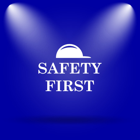 cautionary: Safety first icon. Flat icon on blue background.
