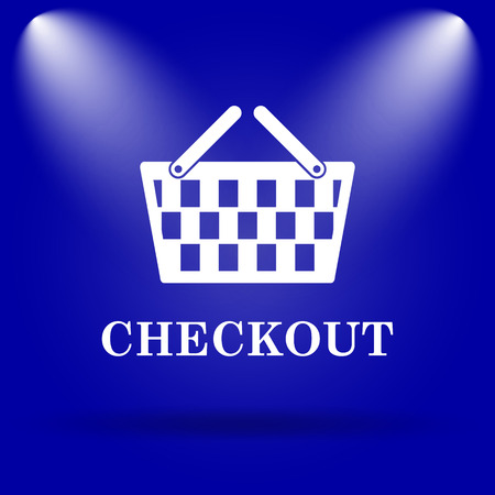 checkout: Checkout icon. Flat icon on blue background. Stock Photo