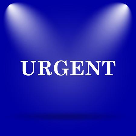 promptness: Urgent icon. Flat icon on blue background.
