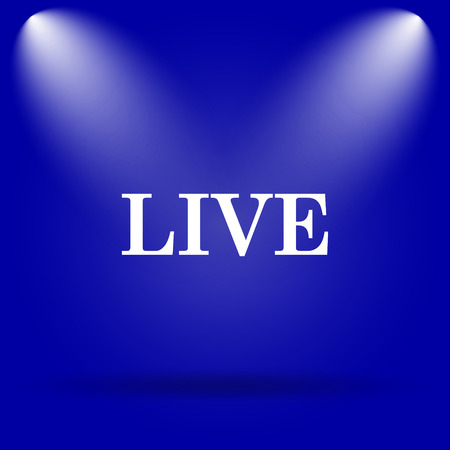 live stream sign: Live icon. Flat icon on blue background. Stock Photo