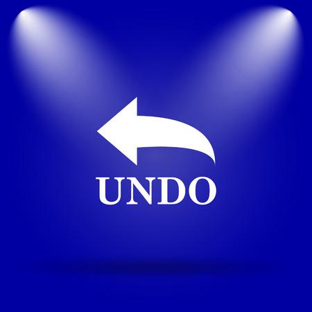 undo: Undo icon. Flat icon on blue background.