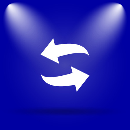 swap: Swap icon. Flat icon on blue background.