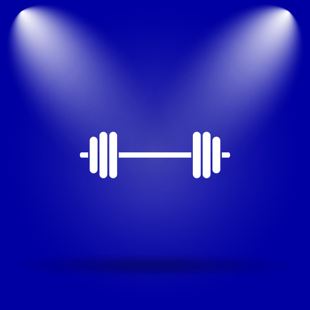weightlifting: Weightlifting icon. Flat icon on blue background.