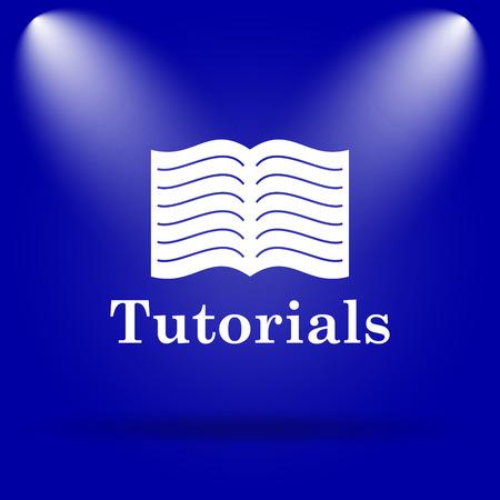tutorials: Tutorials icon. Flat icon on blue background.