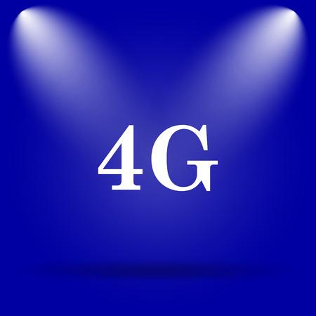 4g: 4G icon. Flat icon on blue background.