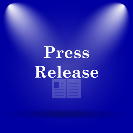 release: Press release icon. Flat icon on blue background. Stock Photo