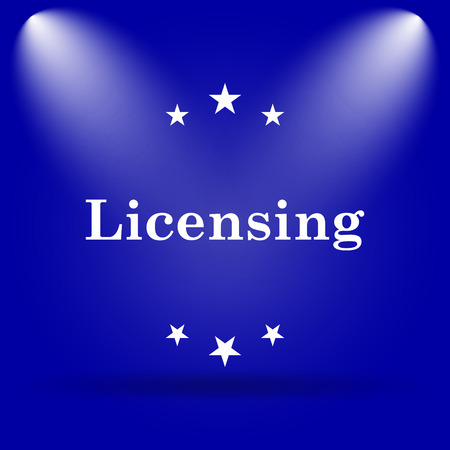 licensing: Licensing icon. Flat icon on blue background. Stock Photo