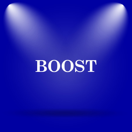 boost: Boost icon. Flat icon on blue background. Stock Photo
