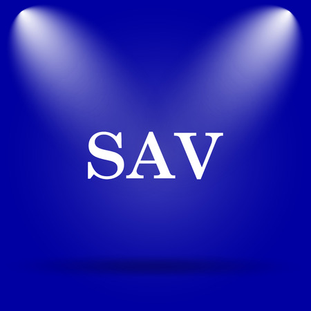 assessed: SAV icon. Flat icon on blue background. Stock Photo