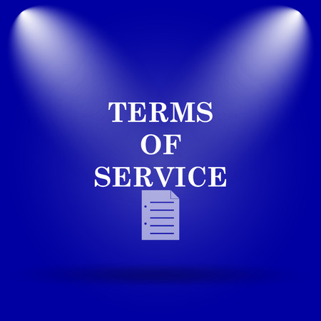 term and conditions: Terms of service icon. Flat icon on blue background.