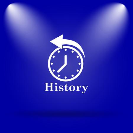 revolve: History icon. Flat icon on blue background.