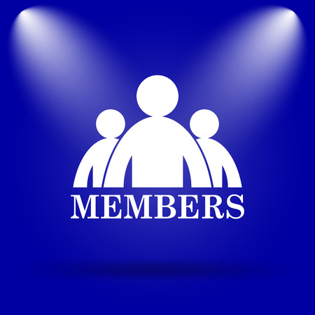 private club: Members icon. Flat icon on blue background.