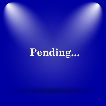 pending: Pending icon. Flat icon on blue background. Stock Photo