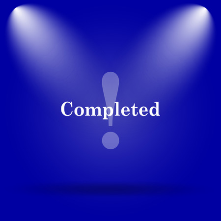 completed: Completed icon. Flat icon on blue background.