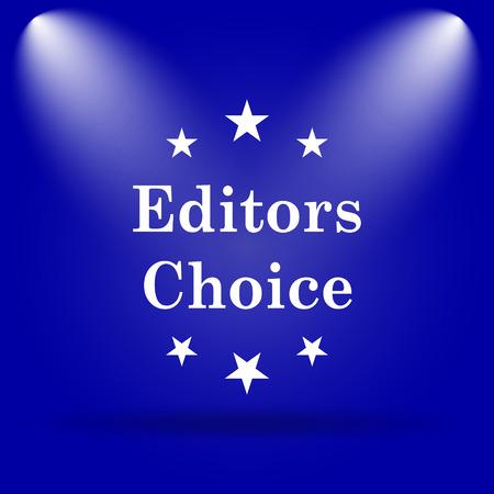 editors: Editors choice icon. Flat icon on blue background.