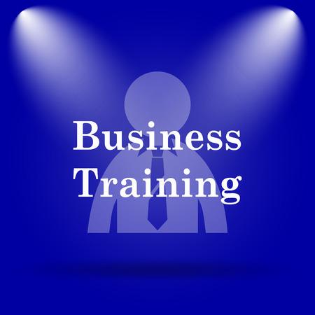 idea hurdle: Business training icon. Flat icon on blue background.