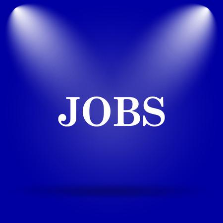 jobs: Jobs icon. Flat icon on blue background.