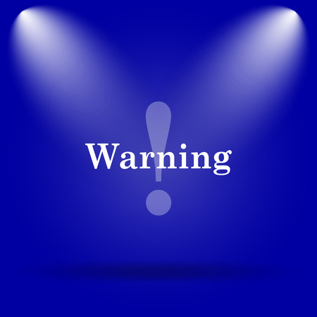 cautious: Warning icon. Flat icon on blue background. Stock Photo