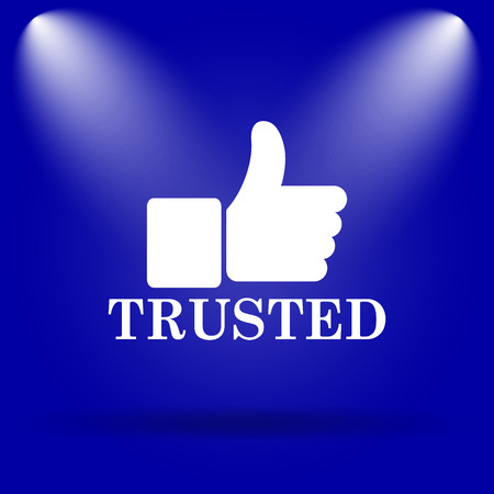 trusted: Trusted icon. Flat icon on blue background.