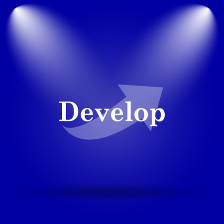develop: Develop icon. Flat icon on blue background.