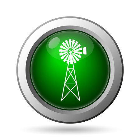 alternate: Classic windmill icon. Internet button on white background Stock Photo