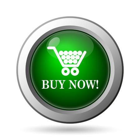 Buy now shopping cart icon. Internet button on white background photo
