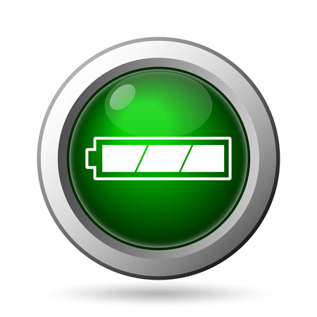 Fully charged battery icon. Internet button on white background
