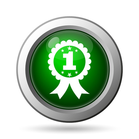 first prize: First prize ribbon icon. Internet button on white background Stock Photo