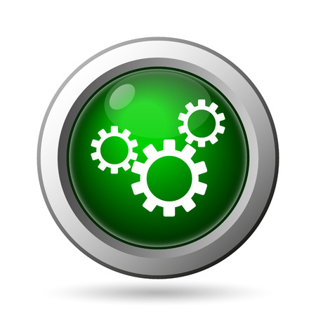 gearing: Settings icon. Internet button on white background