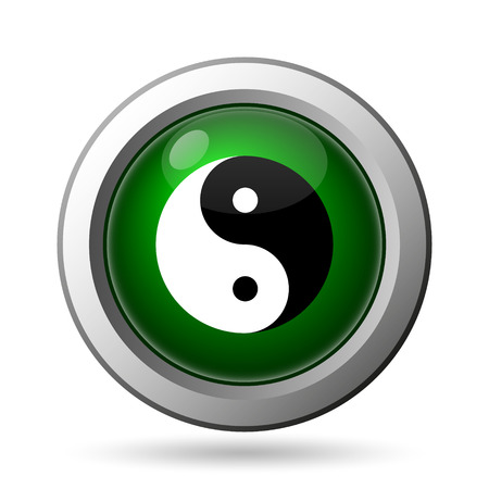 ying: Ying yang icon. Internet button on white background