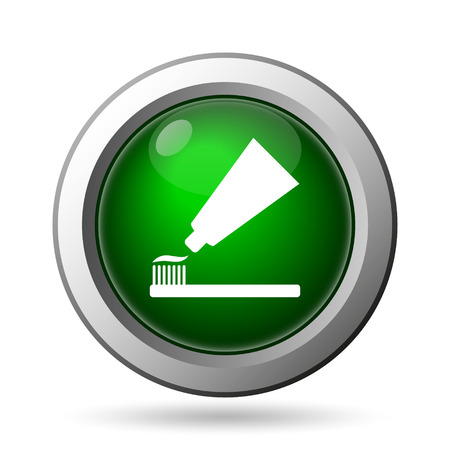 toothbrushing: Tooth paste and brush icon. Internet button on white background