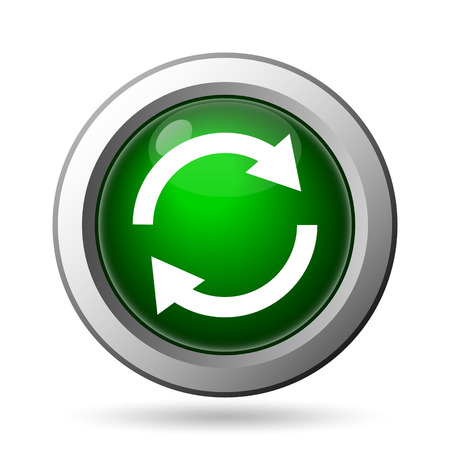 restoring: Reload two arrows icon. Internet button on white background Stock Photo