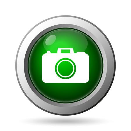 Photo camera icon. Internet button on white background photo