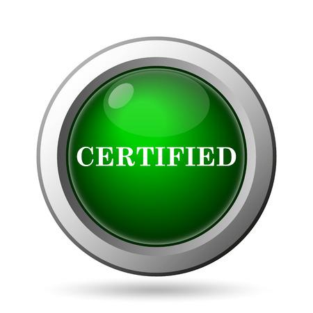 ratificaci�n: Icono de Certificado. Bot�n de internet sobre fondo blanco Foto de archivo