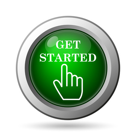 Get started icon. Internet button on white background
