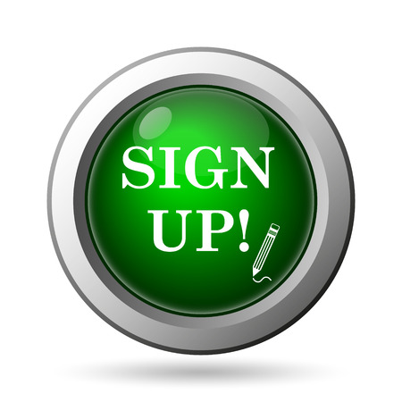 subscribing: Sign up icon. Internet button on white background