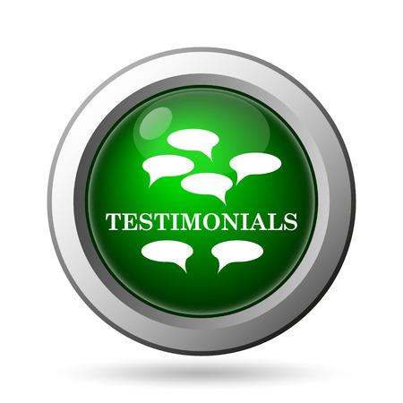 investigations: Testimonials icon. Internet button on white background Stock Photo