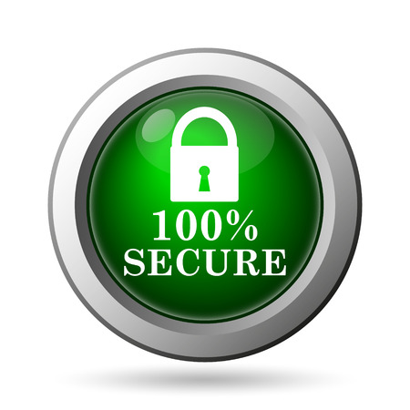 trusty: 100 percent secure icon. Internet button on white background Stock Photo