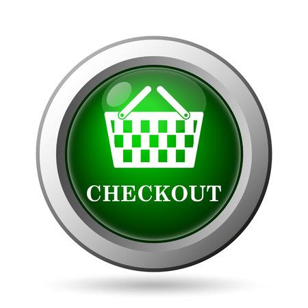 shopping carriage: Checkout icon. Internet button on white background