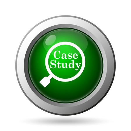 business case: Case study icon. Internet button on white background